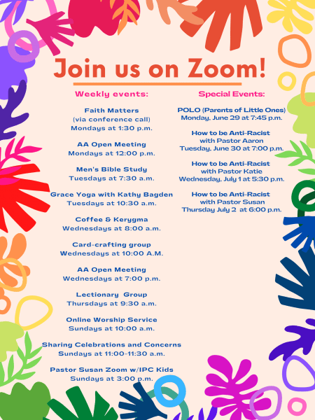 Small Groups & Online Activities at Immanuel (via Zoom) for June 28-July 4